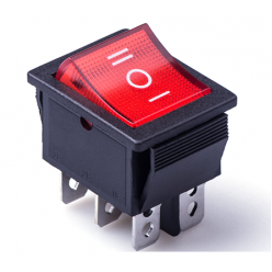 Выключатель клавишный 28мм 6PIN ON-OFF-ON красный