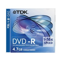 Диск DVD-R TDK 4.7Gb, 16x, (1шт) Slim Case