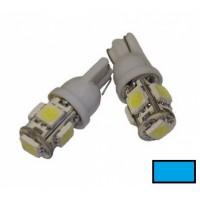 Автомобильная светодиодная лампа T10, 5pcs smd 5050 Синяя