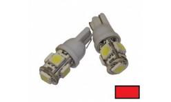 Автомобильная светодиодная лампа T10, 5pcs smd 5050 Красная