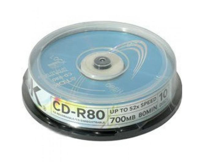 Диск CD-R TDK 700MB, 52x, КОМПЛЕКТ  10шт, пластик.контейнер