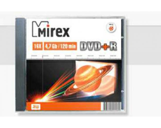 Диск DVD+R Mirex 4,7GB, 16x, SLIM-футляр (UL130013A1S)