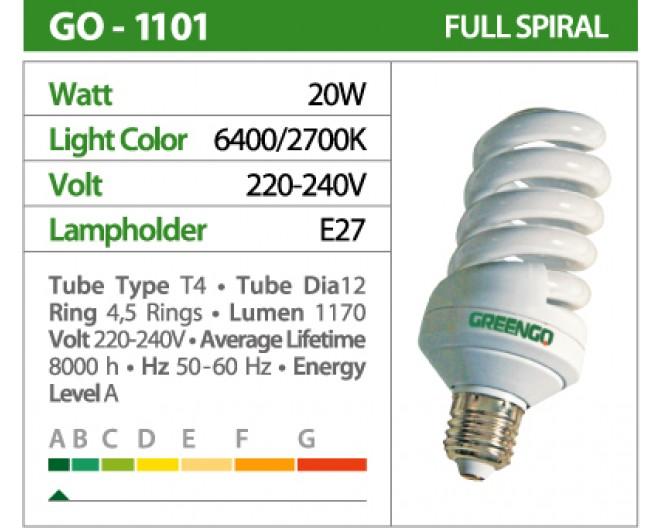 Лампочки Энергосберегающие GREENGO Е-27 20wt (100Wt спираль, холодный свет) GO-1554