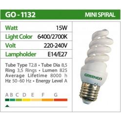 Лампочки Энергосберегающие GREENGO Е-14 15wt (75Wt спираль, холодный свет) GO-1553