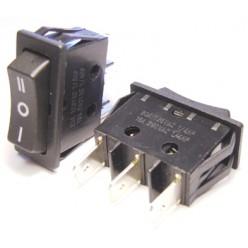 Выключатель клавишный 14мм ON-OFF-ON 250V/15A черный