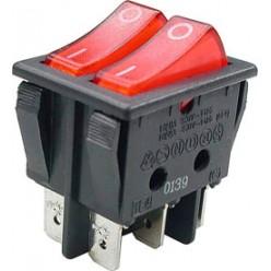Выключатель клавишный 28мм 6PIN ON-OFF красный двойной