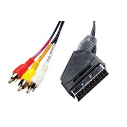Шнур 3RCA - SCART с переключателем