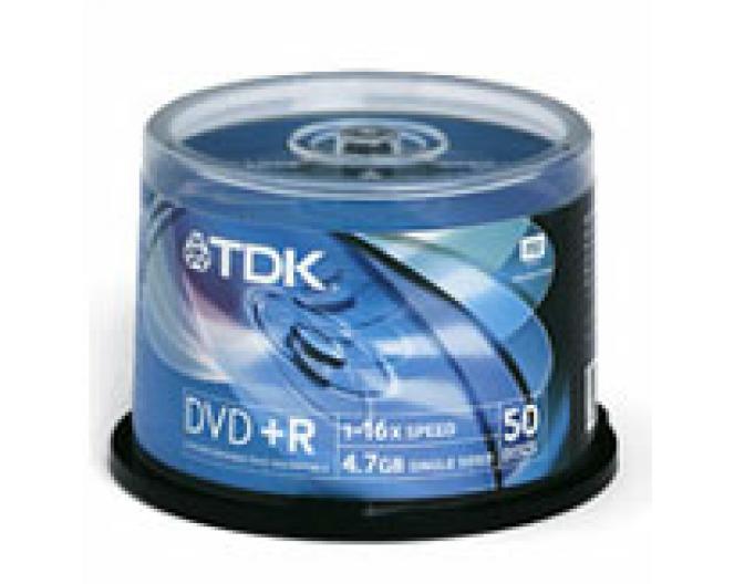Диск DVD+R TDK 4,7GB, 16x, комплект  50шт, пластик. контейнер