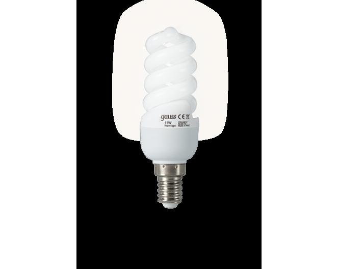 Лампочки Энергосберегающие GAUSS Е-14 9wt (40Wt спираль, холодный свет)