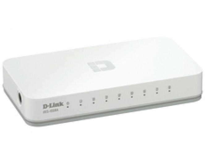 Коммутатор D-Link DES-1008C/A1A, неуправляемый, 8x10/100BASE-TX, пластик.корпус белый