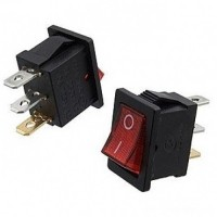 Выключатель клавишный 15x20мм 4PIN RWB-207 зеленый 12V
