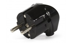 Вилка сетевая угловая с заземлением черная 16А Smartbuy