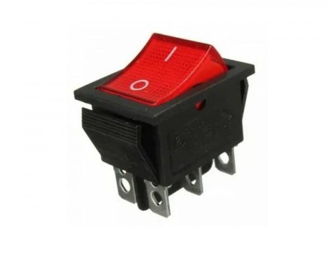 Выключатель клавишный 28мм 6PIN ON-ON красный RWB-502