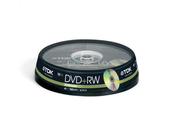 Диск DVD+RW  TDK (набор  10шт) [4.7Gb/16x] Cake Box [t19524]