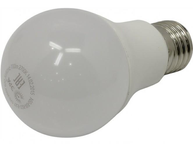 Лампа ЭРА LED A60 Е27, 8w, 2700К, шар матовый (A60-8w-827-E27)
