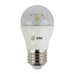 Лампа ЭРА LED P45 Е27, 7w, 2700К, шар прозрачный (P45-7w-827-E27-Clear)