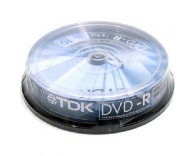 Диск DVD-R TDK 4,7GB, 16x, комплект 10шт, пластик.контейнер