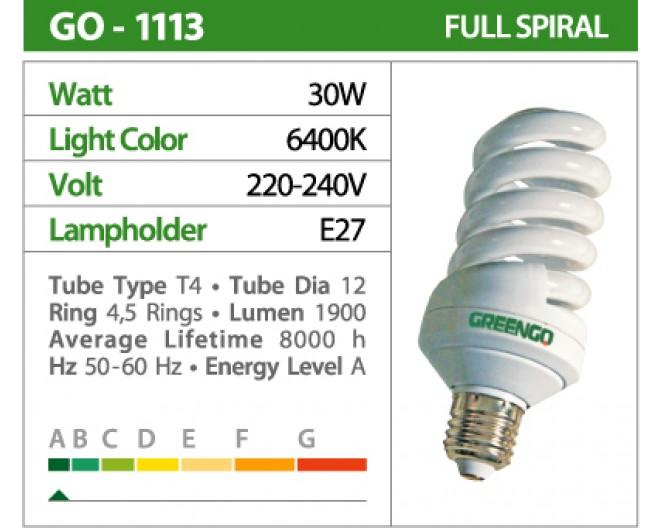 Лампочки Энергосберегающие GREENGO Е-27 30wt (150Wt спираль, холодный свет) GO-1559