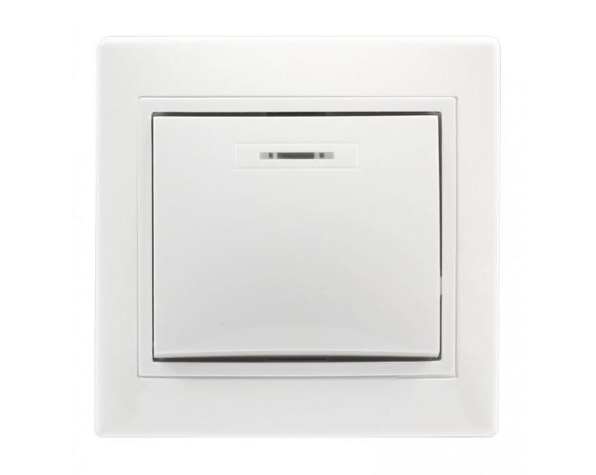 Выключатель настенный скрытой установки 1-клавишный с индикатором 10А белый