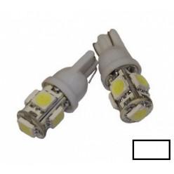 Автомобильная светодиодная лампа T10, 5pcs smd 5050 Белая